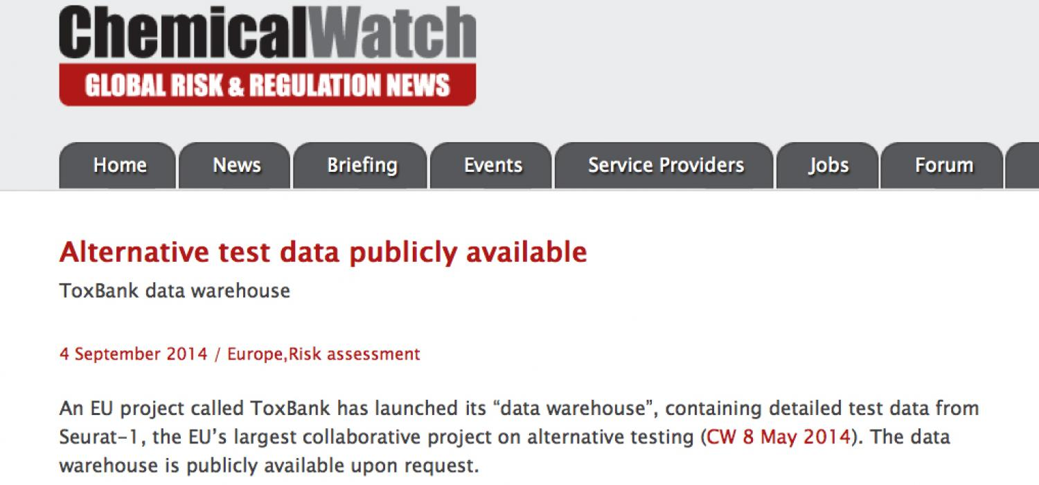 ToxBank data warehouse on ChemicalWatch
